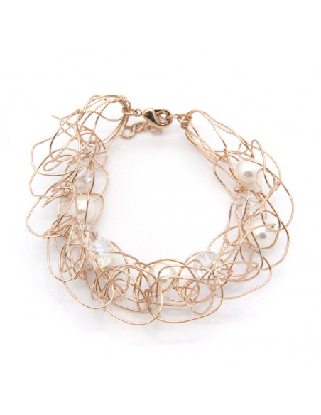 Armband rose gold mit Swarovski Steinen und Perlen SEZE
