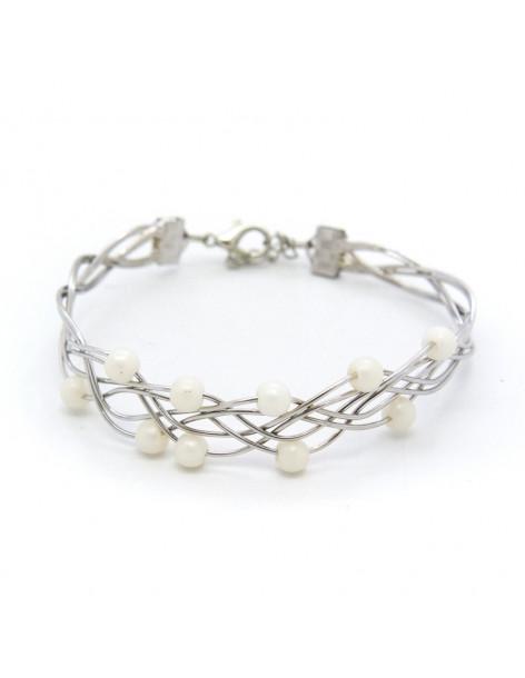 Armband versilbert mit Perlen SIOP