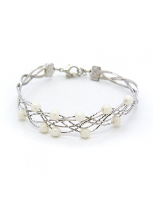 Bracelet silver plated with pearls SIOP