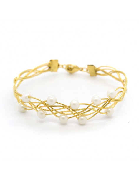 Bracelet gold plated with pearls SIOP