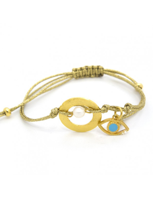 Fabric strap bracelet with gold nazar RORE