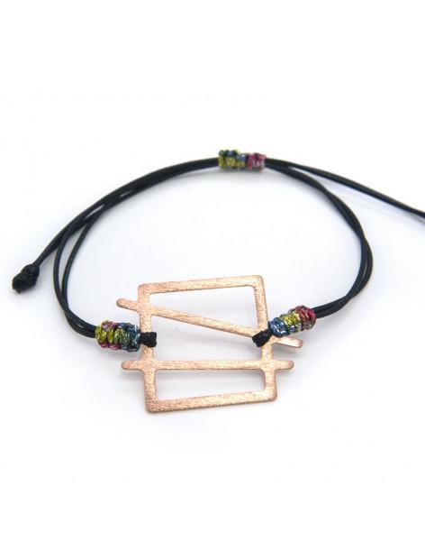 Bracelet with rose gold plated bronze element WEKI