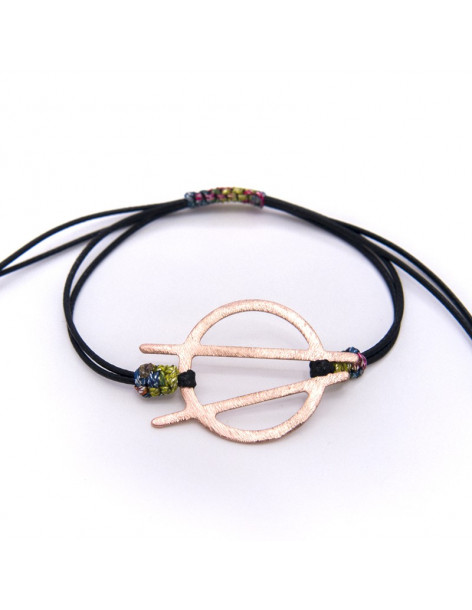 Cord bracelet with rose gold plated bronze element ACOB