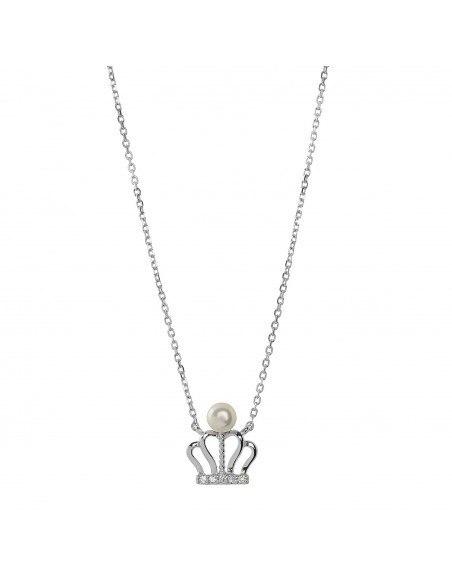 Silberkette mit Perle KRONE