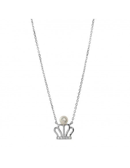 Silver Necklace with pearl CROWN