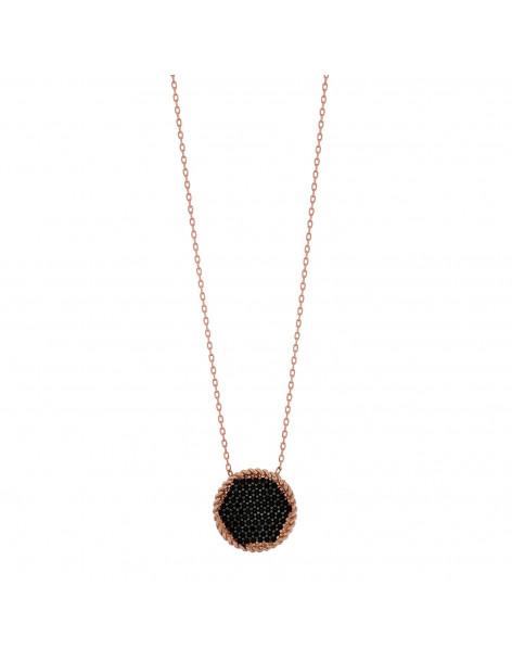 Silberkette mit schwarzen Zirkonia Steinen rose gold MELOR