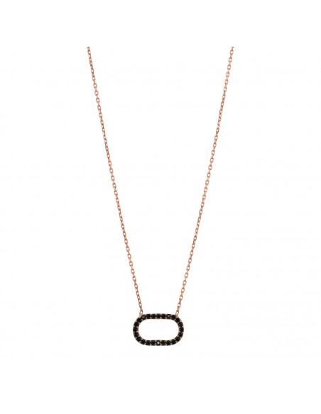 Silberkette mit schwarzen Zirkonia Steinen rose gold MARO