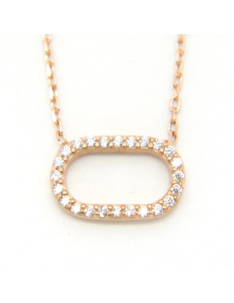 Necklace sterling silver with oval pendant rose gold