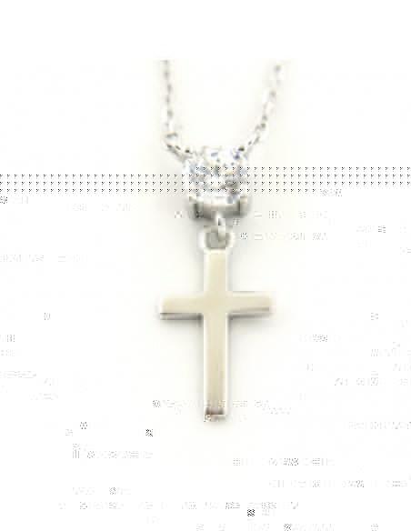 Silberkette mit Kreuz und Zirkon POL