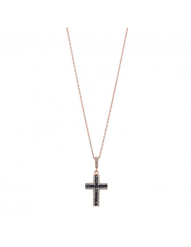Halskette mit Kreuz aus rosévergoldetem Silber 925 PINAR
