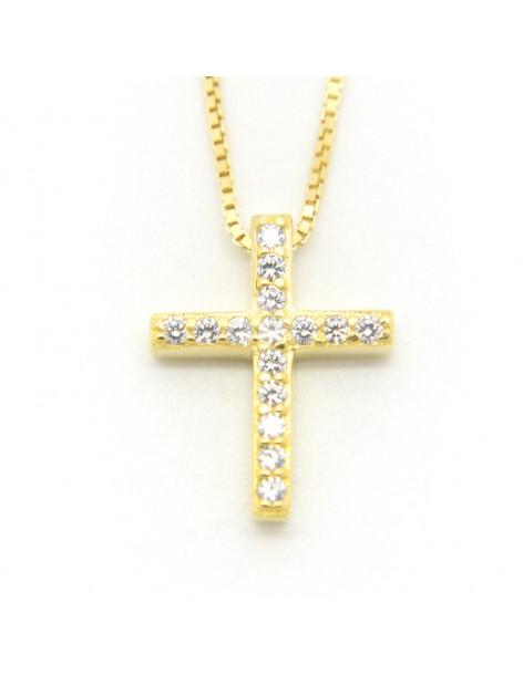 Κολιέ με σταυρό από ασήμι 925 με ζιργκόν χρυσό TINA