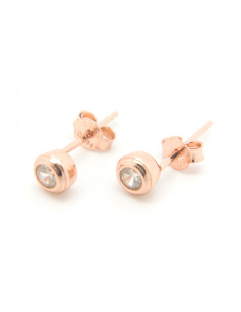 Stud silver earrings rose gold plated PIN