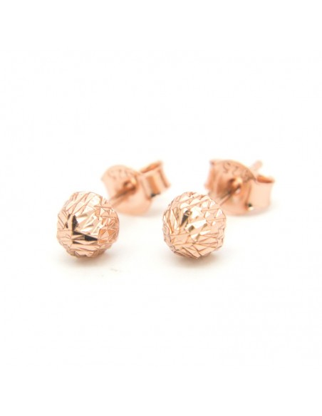 """Stud silver earrings """"HILIO"""" rose gold plated"""