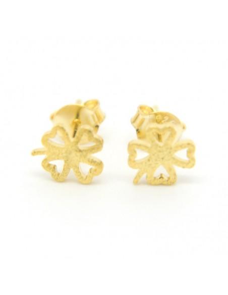 Stud silver earrings gold plated CLOVERLEAF
