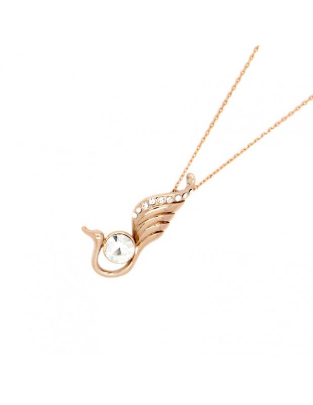 Halskette mit Zirkonia Stein rosegold FTERO