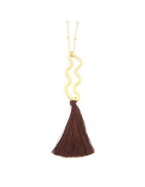 Lange Halskette aus Bronze mit Quaste gold MAKI