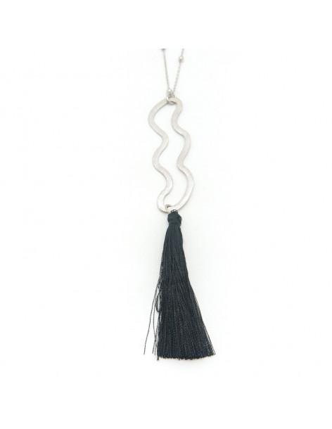 Lange Halskette mit handgefertigtem Bronze-Quaste Anhänger MAKI