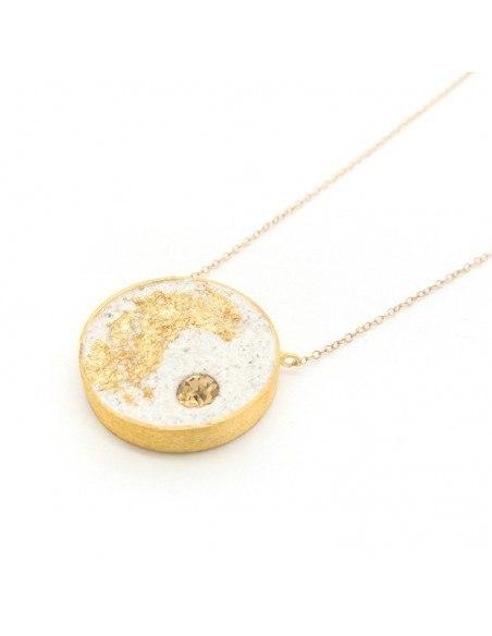 Lange Halskette mit Bronze Anhänger gold ZEMENT