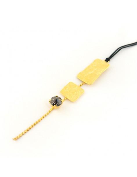 Lange Halskette aus Bronze mit Swarovski® Elements gold PILOTA