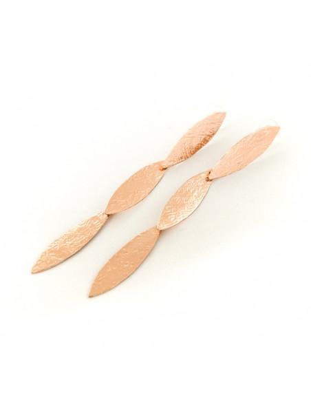 Ohrringe lang aus handgefertigter Bronze rosévergoldet PIOL