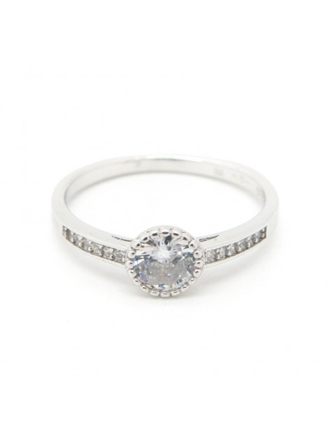 Solitaire ring of sterling silver with crystals LIO