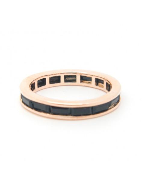 Δαχτυλίδι με μαύρα ζιργκόν από ροζ επίχρυσο ασήμι 925 ARTI