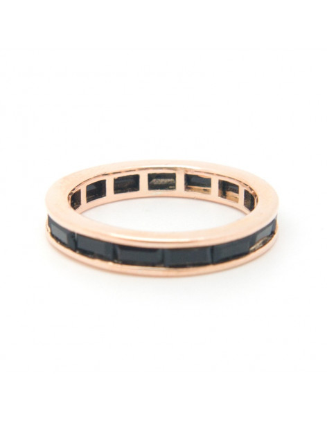 Ring of 925 sterling silver with black crystals rose gold ARTI