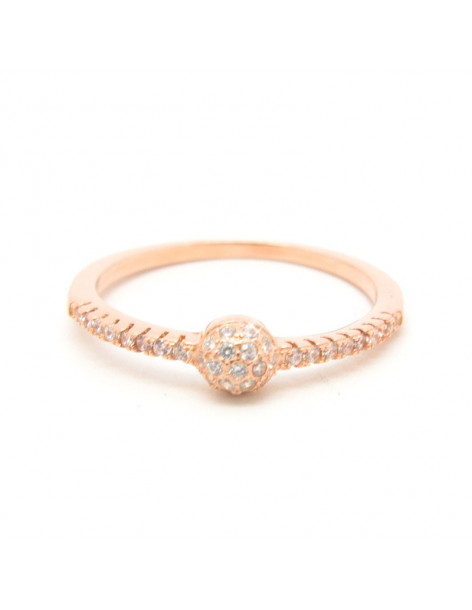 Ring of sterling silver with crystals rose gold HADI
