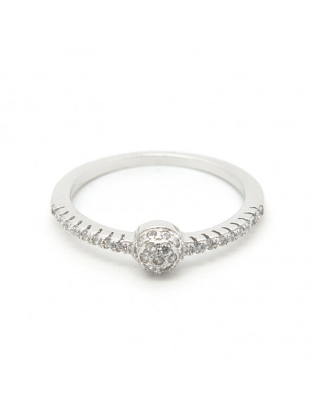 Solitaire Ring of sterling silver with crystal HADI
