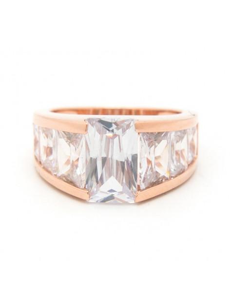 Μεγάλο δαχτυλίδι με ζιργκόν από ροζ επίχρυσο ασήμι 925 BURE