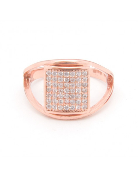 Ring from rose gold sterling silver with zirconia stones QAT