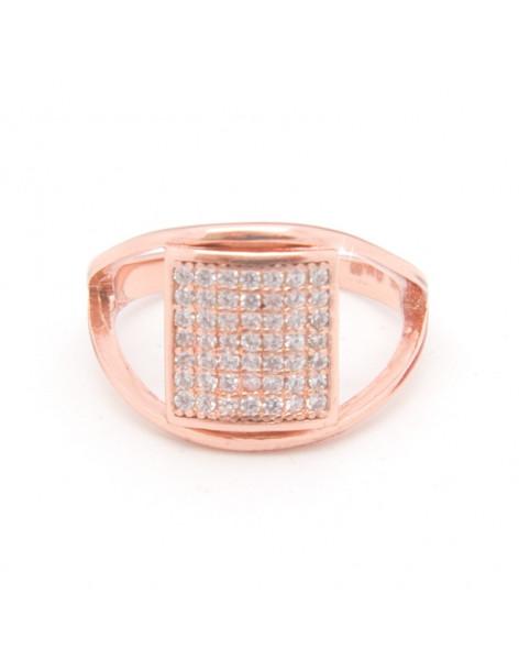Silberring mit Zirkonia Steinen rosegold QAT
