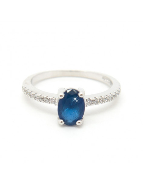 Silberring mit großem blauem Zirkonia Stein SUI