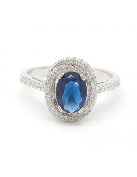 Silberring mit großem blauem Zirkon BLE
