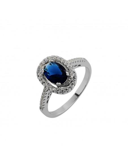 Silberring mit großem blauem Zirkon BLE 3