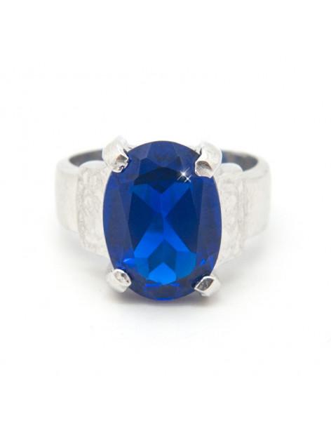 Silberring mit großem blauem Zirkonia Stein AZUR