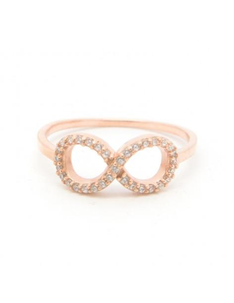 """Δαχτυλίδι """"Άπειρο"""" από ροζ επίχρυσο ασήμι 925 και ζιργκόν"""