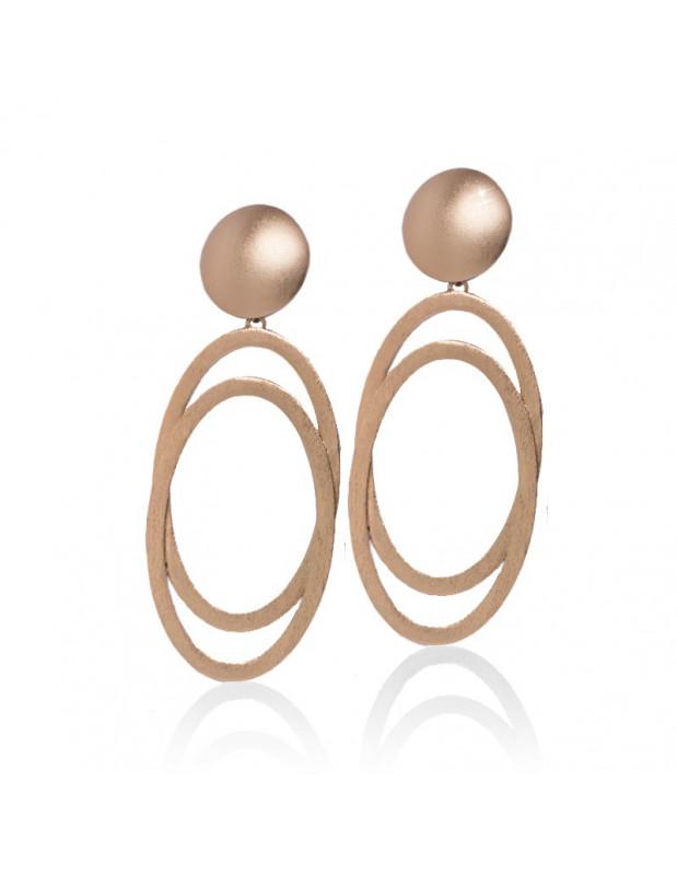 Große Ohrringe aus rosévergoldeter Bronze OVAL