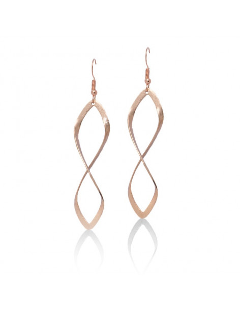 Long earrings of bronze rose gold FIDES