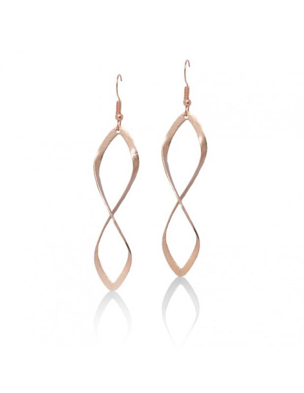 Μακριά σκουλαρίκια από μπρούτζο ροζ χρυσό FIDES
