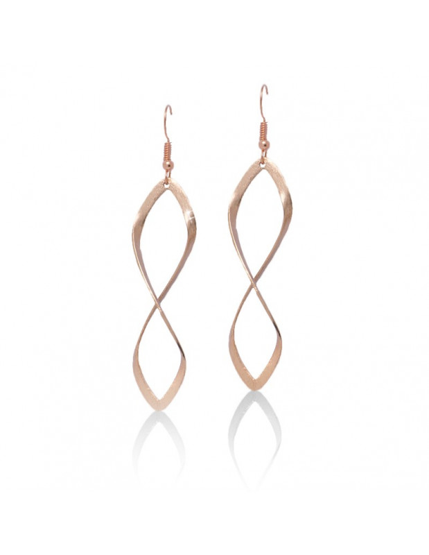 Long earrings of bronze rose gold FIDES