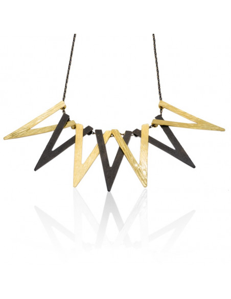 Collar Necklace of bronze gold black TRIG