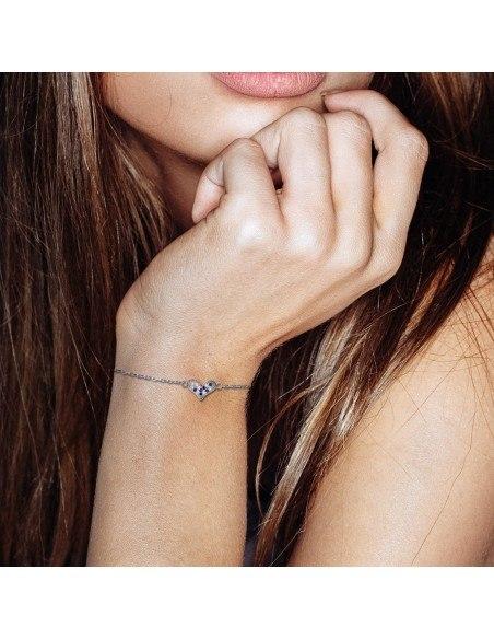 Silver Heart bracelet with rhinestones
