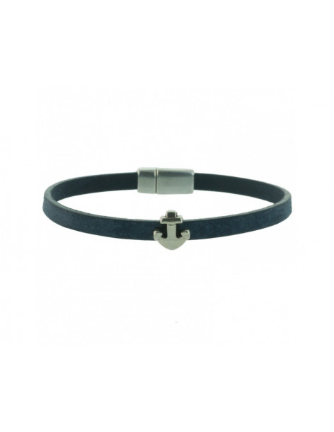 Angelo Barreta leather bracelet blue with anchor element SIRE