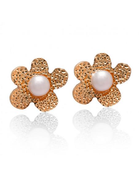 Σκουλαρίκια μαργαριτάρια κουμπωτά από ασήμι 925 ροζ χρυσό DEMI