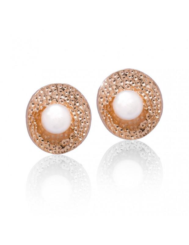 Ασημένια Σκουλαρίκια μαργαριτάρια ροζ χρυσό SALIR