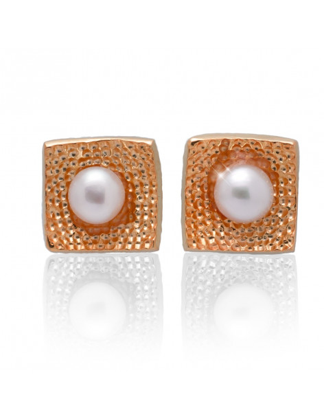 Silver stud pearl earrings rose gold SIRALI