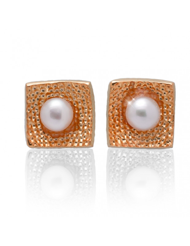 Silver stud pearl earrings rose gold SIRALI