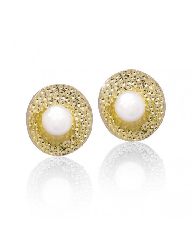 Σκουλαρίκια μαργαριτάρια κουμπωτά από γνήσιο επίχρυσο ασήμι O20140821