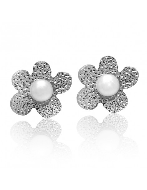 Stud pearl earrings of sterling silver LOFOI
